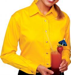 Ladies' Long Sleeve Treated Twill